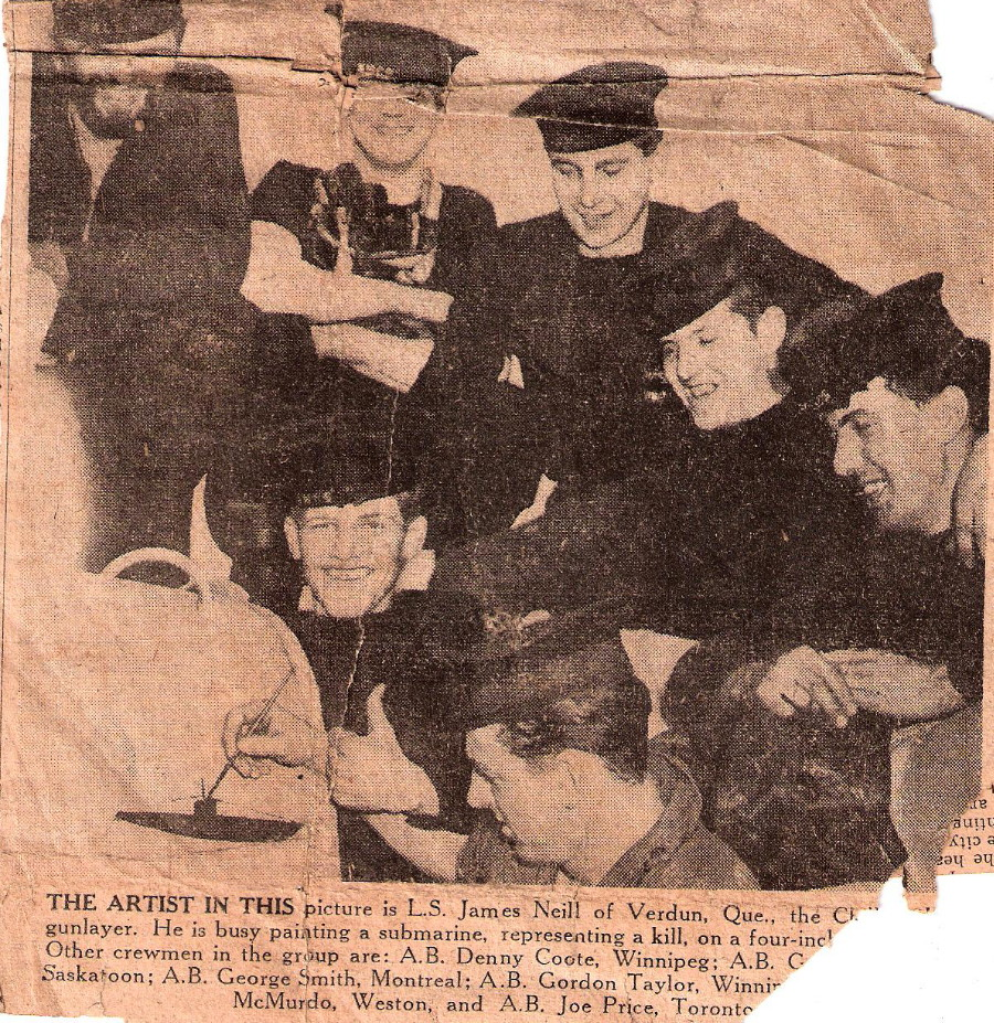newspaper clipping of sinking of U744