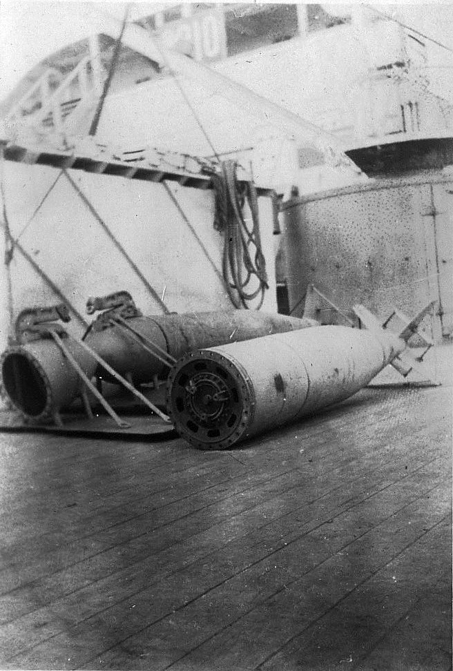 Torpedos on deck of SS Olympic