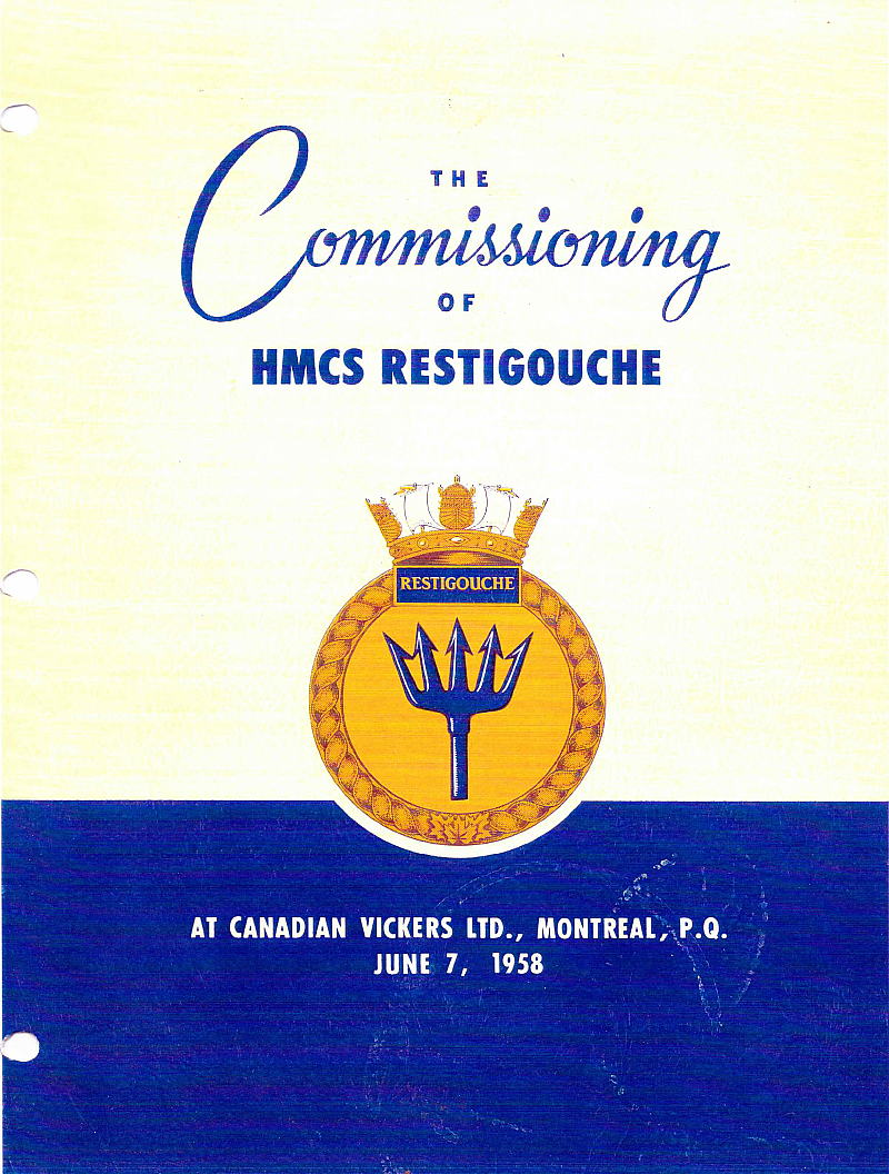 HMCS Restigouche commissioning booklet cover.