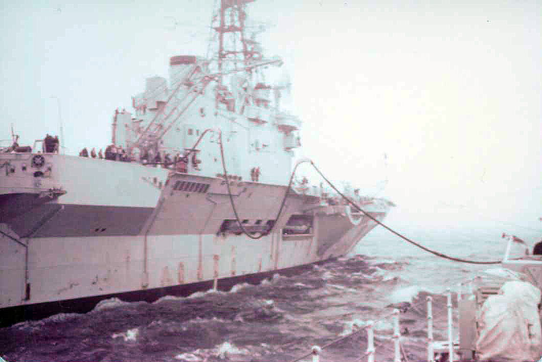 Refuling HMCS Restigouche at sea.