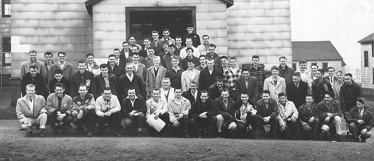 Margaree Division at HMCS Cornwallis, shown in front of Joining Block, April 4, 1960.