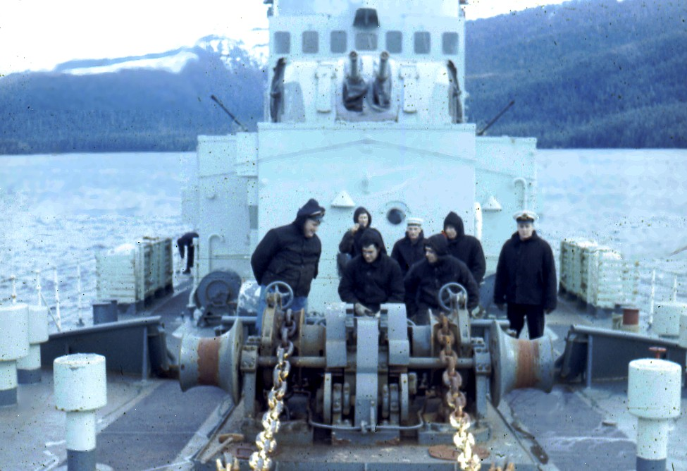 Royal Canadian Navy : H.M.C.S. Ste Therese, foc'sle party.