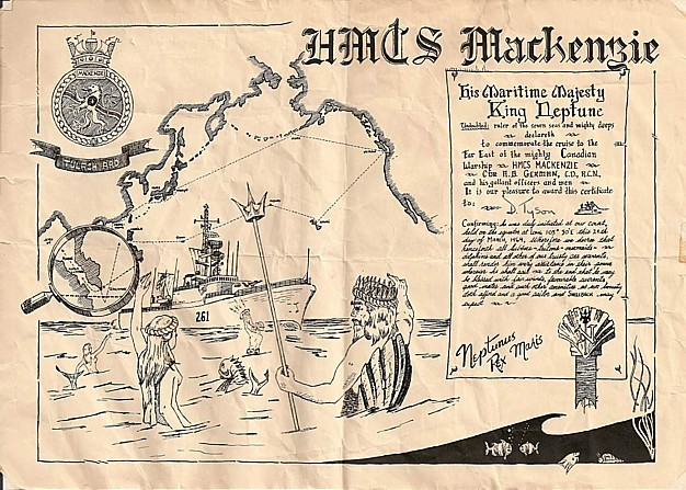 Royal Canadian Navy : HMCS Mackenzie cruise documents.